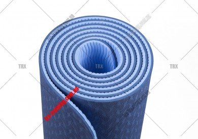 Коврик для фитнеса и йоги TPE+TC двухслойный: фиолетовый - розовый
