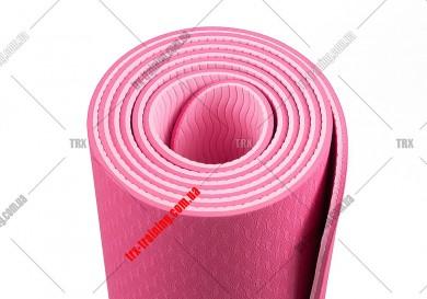 Килимок для фітнесу та йоги TPE + TC двошаровий: фиолетовый - розовый