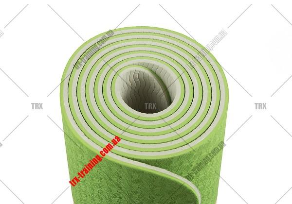 Коврик для фитнеса и йоги TPE+TC двухслойный: зеленый - серый