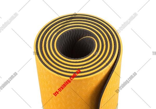 Коврик для фитнеса и йоги TPE+TC двухслойный: оранжевый - черный