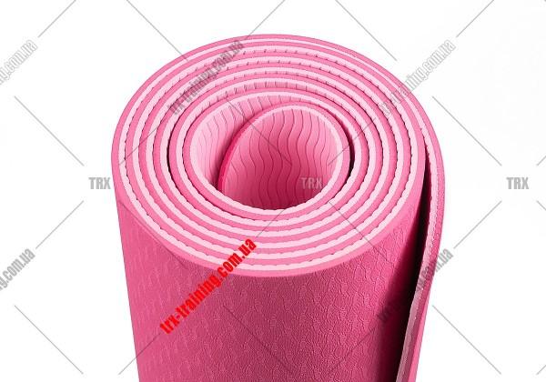 Коврик для фитнеса и йоги TPE+TC двухслойный: розовый - светло-розовый