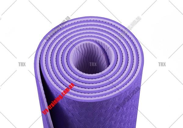 Коврик для фитнеса и йоги TPE+TC двухслойный: сиреневый - светло-сиреневый