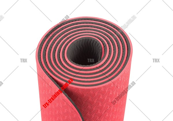Коврик для фитнеса и йоги TPE+TC двухслойный: красный - черный